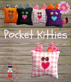 """""""Brad, what does a cat say?"""" Pocket Kitties PDF Pattern These would be cute if stuffed with rice to make them hand warmers for a kid's pockets. Just microwave the kittens before tucking them in your child's pocket. Sewing Toys, Sewing Crafts, Sewing Projects, Craft Projects, Felt Crafts, Fabric Crafts, Diy Crafts, Fleece Crafts, Operation Christmas Child"""