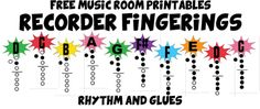 Recorder Fingerings and other printable posters Recorder Music, Recorder Karate, Recorder Fingering Chart, Music Classroom, Classroom Ideas, Music Teachers, Music Worksheets, Music Activities, Holiday Activities