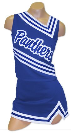 $54.95 Custom cheerleading uniform set- includes 1 color team name. Also available as part of the $89.95 Ultimate Deal (top, skirt, team name, briefs, poms, socks and bow!