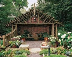Rustic Structure        Although live-branch structures are often small and simple, there's no reason more ambitious projects cannot incorporate this type of material, as long as the joinery is sound. This pergola features log-and-branch sections large enough to function as structural timbers.