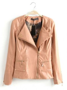 Pink Oblique Zipper Slim Leather Jacket