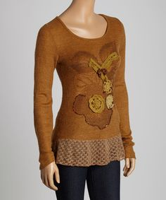Look at this Farinelli Mocha Floral Scoop Neck Top on #zulily today!