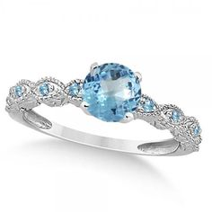 Allurez Vintage Style Blue Topaz Engagement Ring 14k White Gold... ($1,415) ❤ liked on Polyvore featuring jewelry, rings, white gold, blue topaz engagement ring, engagement rings, white gold engagement rings, vintage looking engagement rings and antique white gold ring