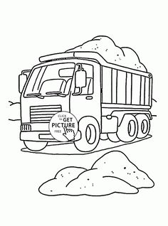 Construction Dump Truck Coloring Page For Kids Transportation Pages Printables Free