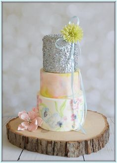 Watercolour Sequin Watercolour Sequin Handpainted watercolour cake with silver sequins and pompom dhalia Pretty Cakes, Beautiful Cakes, Amazing Cakes, Cake Cookies, Cupcake Cakes, Cupcakes, Mothers Day Cake, Watercolor Cake, Cake Central