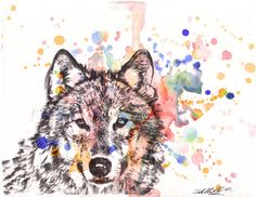 Wolf Art Print Animal from Original Watercolor Painting 8 X 10