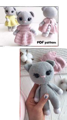 Crochet Baby Toys, Crochet Amigurumi Free Patterns, Crochet Animal Patterns, Crochet Animals, Crochet Dolls, Kawaii Crochet, Cute Crochet, Crochet For Kids, Crochet Crafts