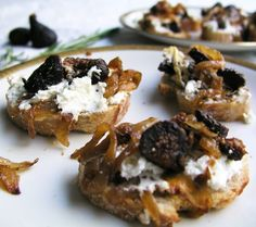 Goat cheese, caramelized onions and fig bruschetta - One of my all time favorite appetizers! You can make the topping a day ahead. Then just heat and spread on bread or crackers. (Blue Cheese Crackers)