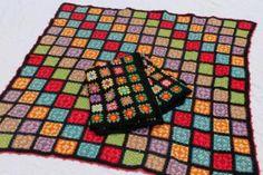 two vintage crochet granny square afghans, retro bohemian bright colors w/ black