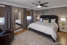 Trellis drapes in a master bedroom - Drapery Street