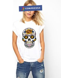 """White cotton T-shirt from Com-Prensa featuring a round neck, short sleeves and a print to the front """" Mexican Skull"""" #comprensa #model #fashion #manufacturer #design #company #textile #portugal #jersey #fleece #cotton #bio #sublimation #screenprinting #digitalprint #laser #photoprint"""