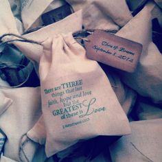 Ruffled®   See ads - Hand Stamped Favor Bags 1 Corinthians 13 - Favors  For Candy Bar?