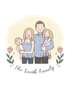 Excited to share this item from my shop: Custom family portrait/ Digital portrait/ Custom illustration/ Birthday gift/ Gift for her/ Digital family drawing/ Gift ideas/ Anniversary