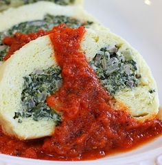 Souffle Roulade with Spinach-Mushroom Filling and Tomato Coulis