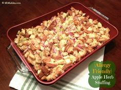{Allergy Friendly} Apple Herb Stuffing recipe for Thanksgiving or Christmas   Gluten Dairy Nut Egg FREE