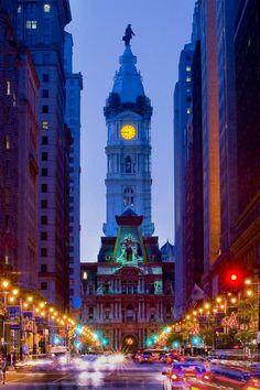 Philadelphia's City Hall at night