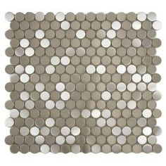 Merola Tile, Alloy Penny Round 11-7/8 in. x 11-7/8 in. Stainless Steel Over Porcelain Mosaic Wall Tile, MDMSSPRB at The Home Depot - Tablet