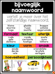 Juf-Stuff: Posters word types - Back to School Teacher Education, Kids Education, Teacher Resources, Learn Dutch, Learn English, School Tool, School Hacks, Learning Quotes, Kids Learning