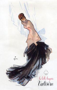 """By René Gruau, 1948, """"La belle lingerie Valisère""""."""