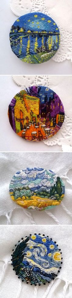 FAnna Jewelry - Embroidered Brooches with Van Gogh's paintings Modern Embroidery, Ribbon Embroidery, Embroidery Art, Cross Stitch Embroidery, Embroidery Patterns, Embroidery Jewelry, Bordados E Cia, Textiles, Thread Painting