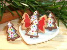 2 Sets of Christmas Tree Earrings, Christmas cookies, Cookie Earrings, Mini Food Jewelry, Polymer Clay Earrings, Polymer Clay Christmas