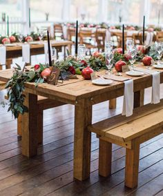 pomegranate table favors: floral design by Sol Flower Farm Centerpiece Table, Rustic Wedding Centerpieces, Wedding Table Decorations, Decoration Table, Floral Centerpieces, Table Garland, Wedding Favor Table, Diy Wedding, Fall Wedding