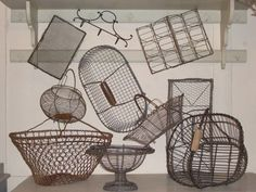 French Wire trays and egg baskets...use these pretty baskets for organizing just about anything - mittens, yarn, magazines/mail, snacks etc!