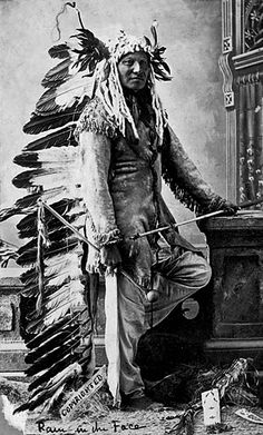 Antique photo of native American Rain In The Face (unknown tribe).