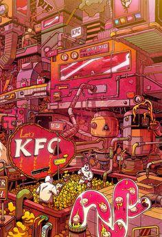 thought provoking art - Supersize Them Fast Food Illustrations by Mr Misang Food Illustrations, Illustration Art, Pop Art Wallpaper, Food Wallpaper, Cyberpunk Art, Grid Design, Korean Artist, Psychedelic Art, Aesthetic Art