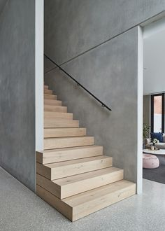 Carefully designed to expose the beauty of raw concrete, Salmon Avenue by FGR Architects creates a strong design statement amongst its traditional Essendon neighbourhood. stairs Salmon by FGR Architects - Exposing the Design Beauty of Raw Concrete Concrete Facade, Concrete Stairs, Precast Concrete, Wood Stairs, House Stairs, Concrete Architecture, Concrete Houses, Beton Design, Concrete Design
