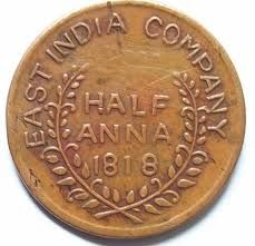 Half Anna coin from East India Company