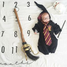 Harry Potter baby 😍 on a Milestone Blanket by BATZkids Monthly Baby Photos, Baby Monthly Milestones, Newborn Pictures, Baby Pictures, Babys 1st Halloween, Harry Potter Baby Shower, Harry Potter Baby Costume, Babies First Year, Baby Costumes