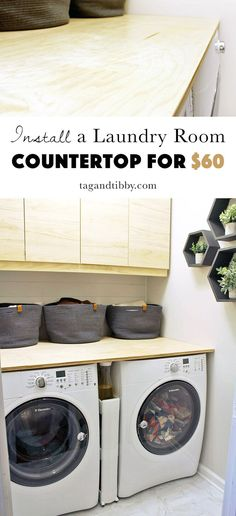 install a birch plywood countertop in the laundry room for $60, step by step directions!