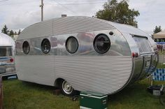 Distinctive corrugated aluminum siding on a rare 1952 Airfloat vintage trailer