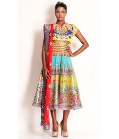 Manish Arora Multi Silk Rexine And Fabric Aplique Embroidered Peacock Anarkali, http://www.snapdeal.com/product/manish-arora-multi-silk-rexine/1992817989