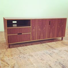 Walnut europly console with walnut tapered legs. Made by Kerf Design kerfdesign.com
