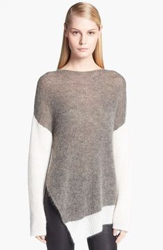 Helmut Lang asymmetric Colorblock white & grey Alpaca Blend Sweater | Nordstrom