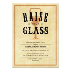 Vintage Raise Your Glass Party Invitations