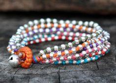 Colorful Lula Silver Bracelet by brasslady on Etsy, $8.00