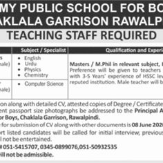 Army Jobs, Jobs In Pakistan, Teaching Jobs, Government Jobs, Public School, Computer Science, Chemistry, Physics, Reading