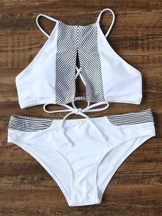 Pinstrip Detail Lace Up Cutout Front Bikini Set #beachoutfitswomen
