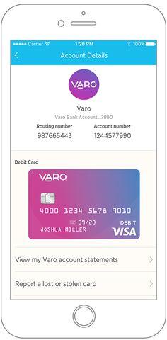 Varo Bank Account View - intelligent mobile banking