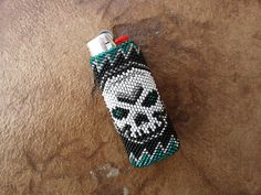 "Native American Beaded Lighter Cover/Case - ""Skull"""