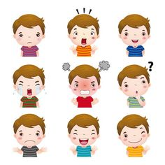 Illustration about Illustration of cute girl faces showing different emotions. Illustration of greeting, kindergarten, laugh - 60785380