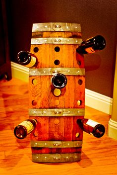 I NEED THIS!! Reclaimed Recycled Wood Wine Barrel Riddling Wine Rack For Storage. $93.00, via Etsy.