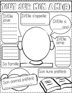 All about my friend (Tout sur mon ami(e)) French Teaching Resources, Teaching French, Back To School Activities, Writing Activities, French Worksheets, French Education, Core French, French Lessons, Spanish Lessons