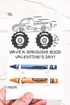 These free monster truck valentines are sure to make any little boy happy this valentine's day. Download this free crayon holder valentine! There are 4 different valentine designs, including a sloth valentine, monster truck valentine, alligator valentine, and a unicorn valentine. These free printable valentines can be cut using a Silhouette machine or a Cricut machine. #valentinesday #printablevalentine #freevalentines Valentine Template, Valentines Design, Free Silhouette Files, Silhouette Machine, Unicorn Valentine, Crayon Holder, Local Craft Fairs, Truck Design, Used Vinyl