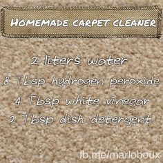 Homemade carpet cleaner. Reduce your family's exposure to toxic chemicals and harsh scents.