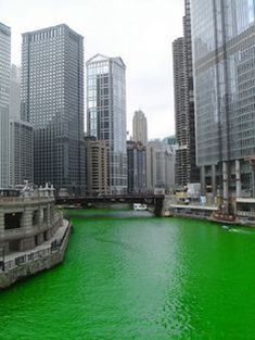 The Chicago River dyed green for St. Patrick's Day. March 17th, 2013. A yearly tradition.