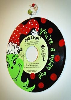 Hand-Painted Grinch Vintage Christmas Record Ornament / Decoration